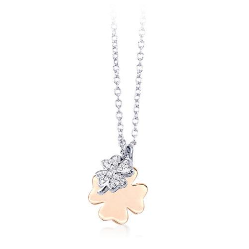 Collana donna Mabina in argento e zirconi quadrifoglio