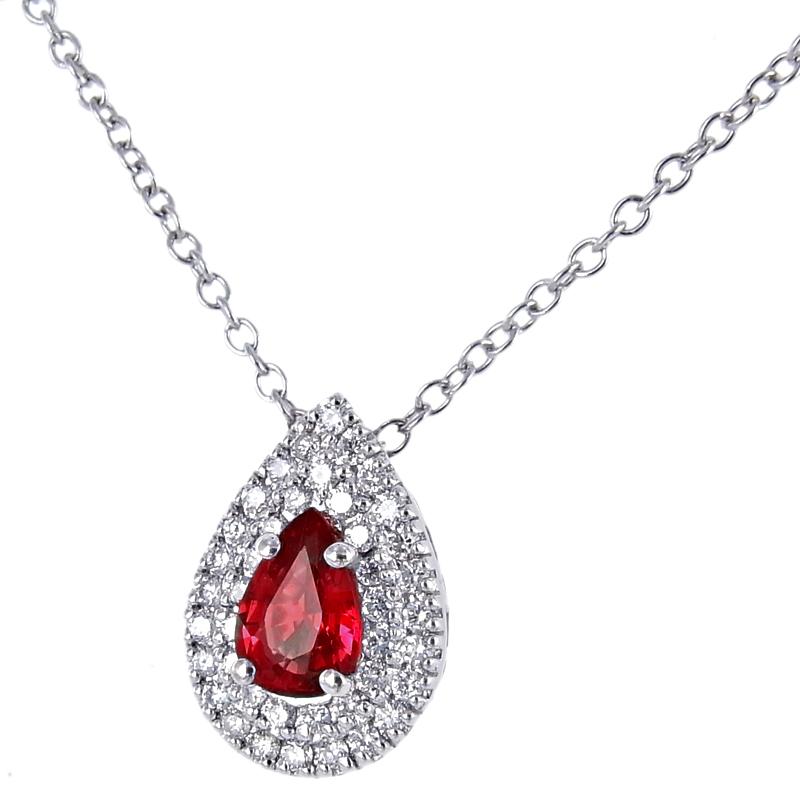 Collana e pendente in oro con Diamanti e Rubino Birmania