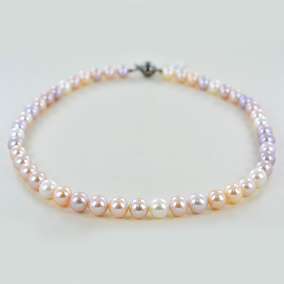 Collana filo di perle di Acqua Dolce 9.00 - 9.50 mm Perle Multicolor