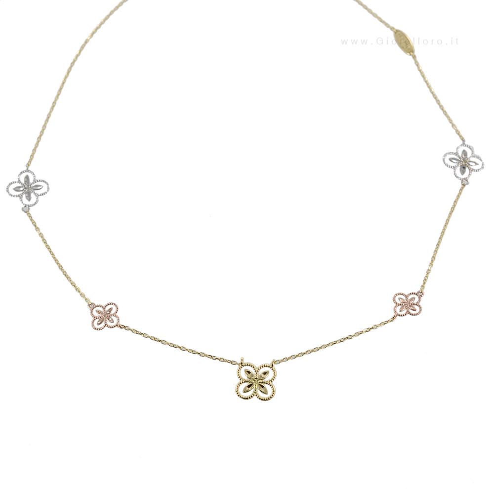 Collana Fiori in oro bianco, giallo e rosa Lorenzo Ungari