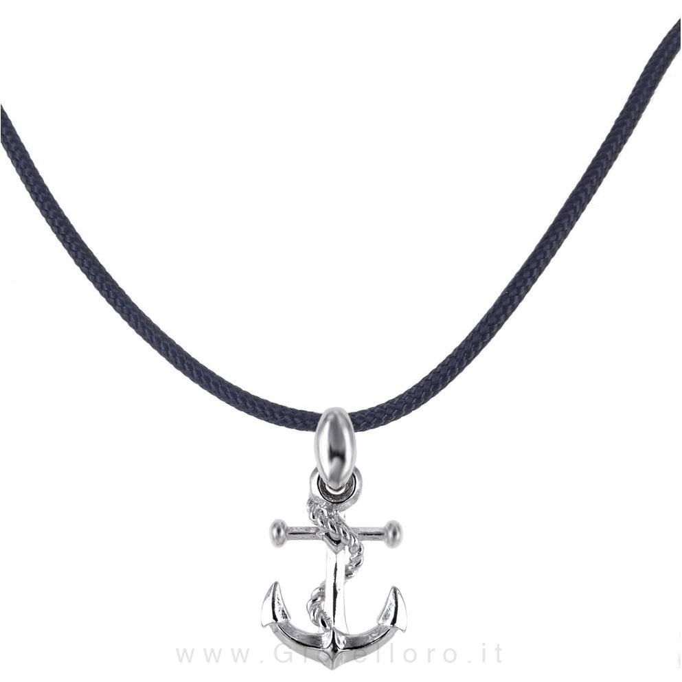 Collana in tessuto nautico con ciondolo Ancora in argento