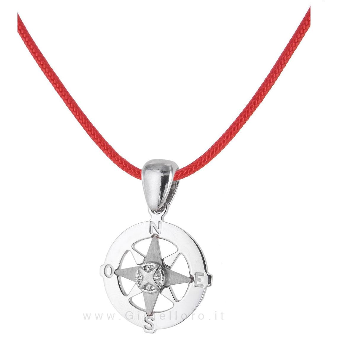 Collana in tessuto nautico con ciondolo Rosa dei Venti in argento