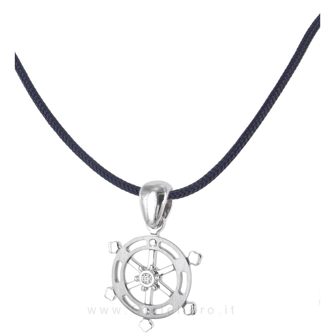 Collana in tessuto nautico con ciondolo Timone in argento