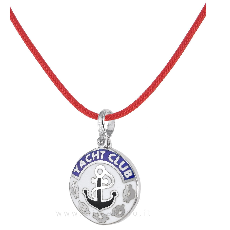 Collana in tessuto nautico con ciondolo YACHT CLUB in argento