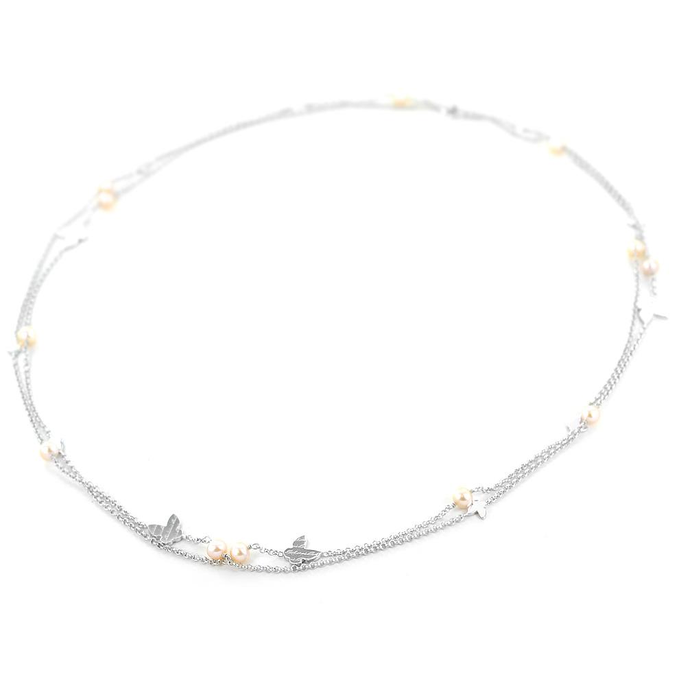 Collana lunga in argento con farfalle e perle by Salvini 20073452 Just a Pearl