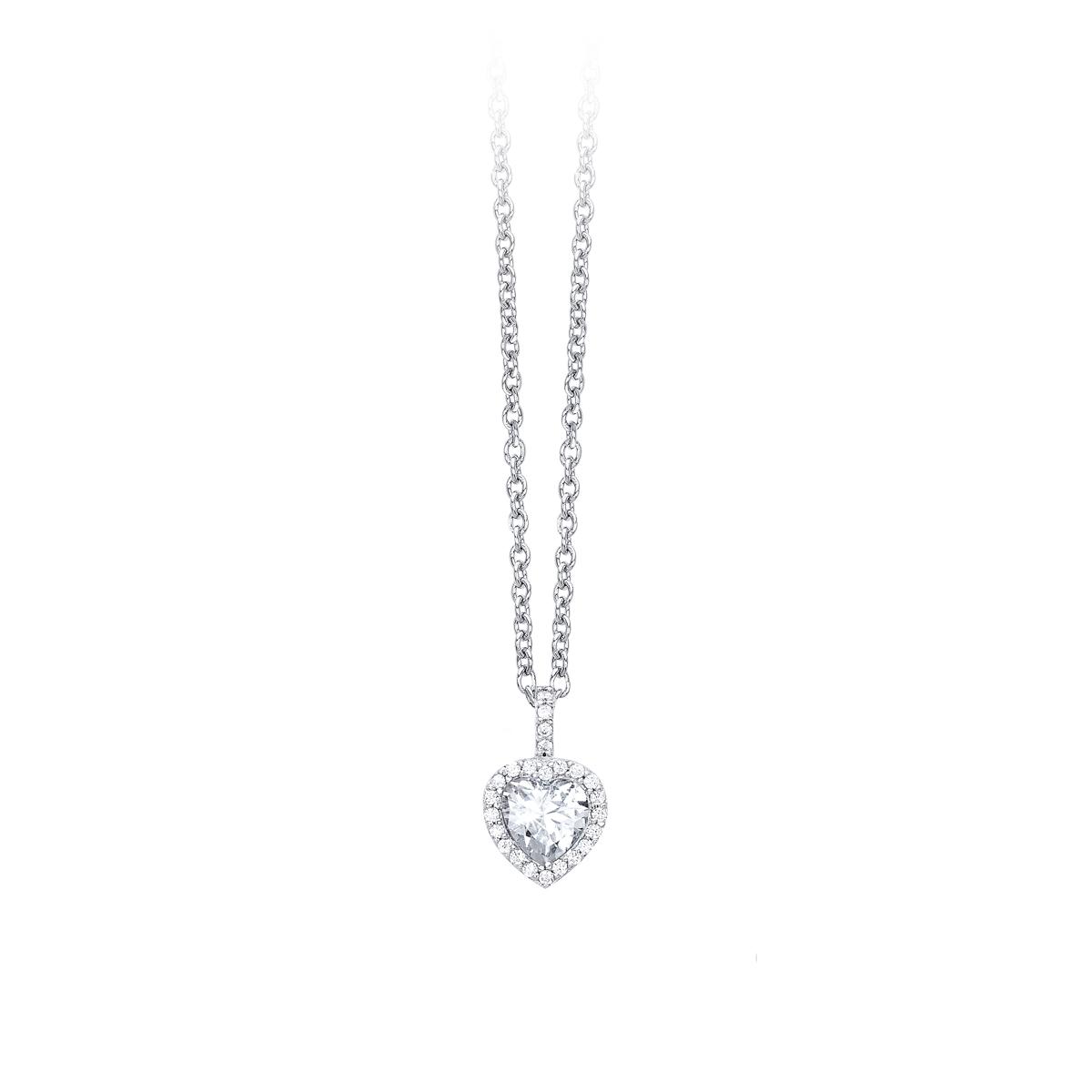 Collana pendente punto luce cuore con contorno zirconi in argento