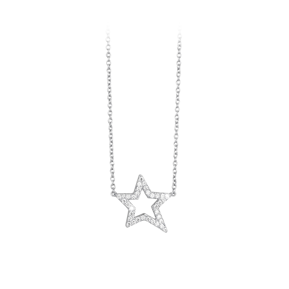 Collana pendente stella con zirconi in argento