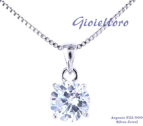 Collana con pendente in argento punto luce con zircone