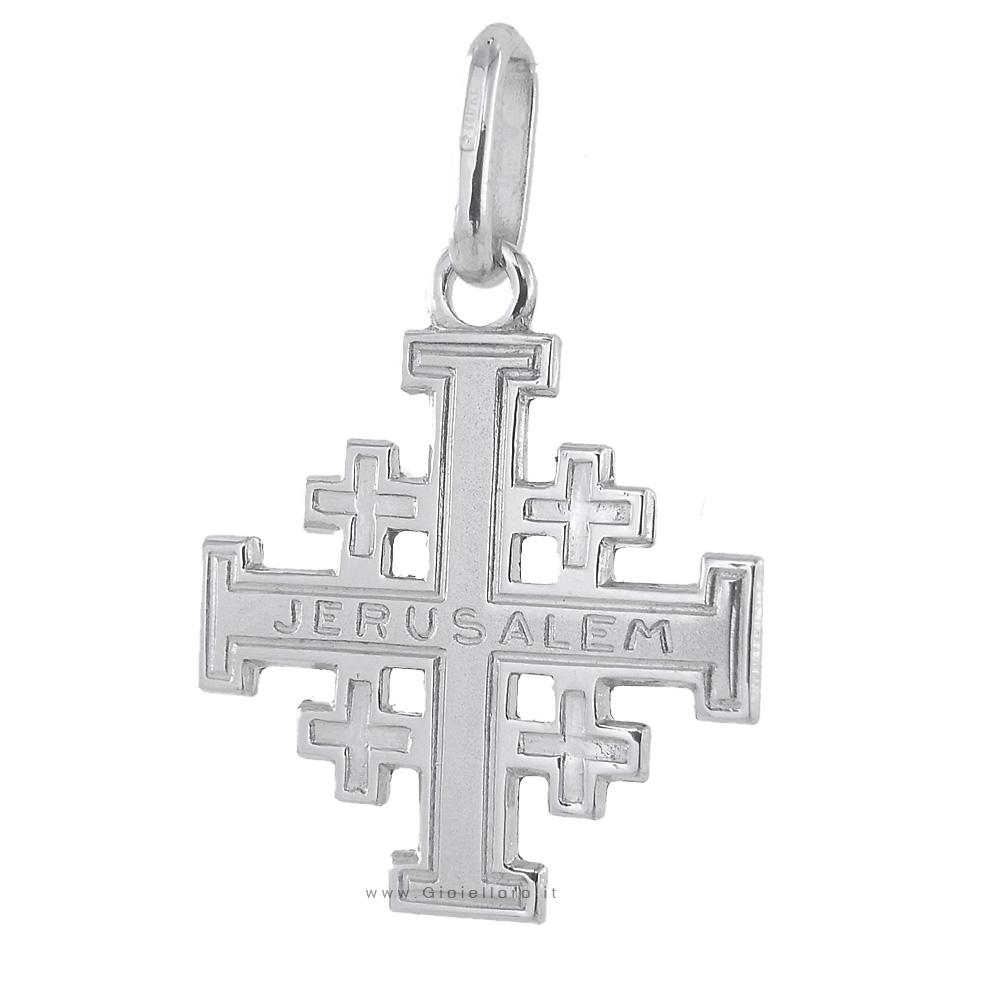 Croce di Gerusalemme in oro bianco 18 kt