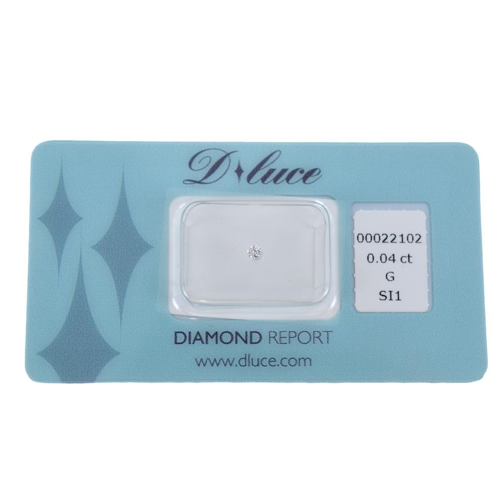 Diamante in blister Dluce carati 0.04 G SI1 con certificato