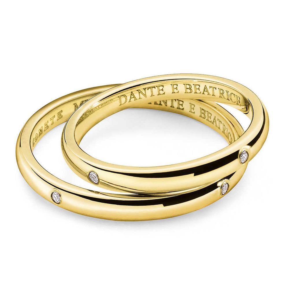 Fede Comete Gioielli Dante e Beatrice con 4 diamanti oro giallo ANB1862G