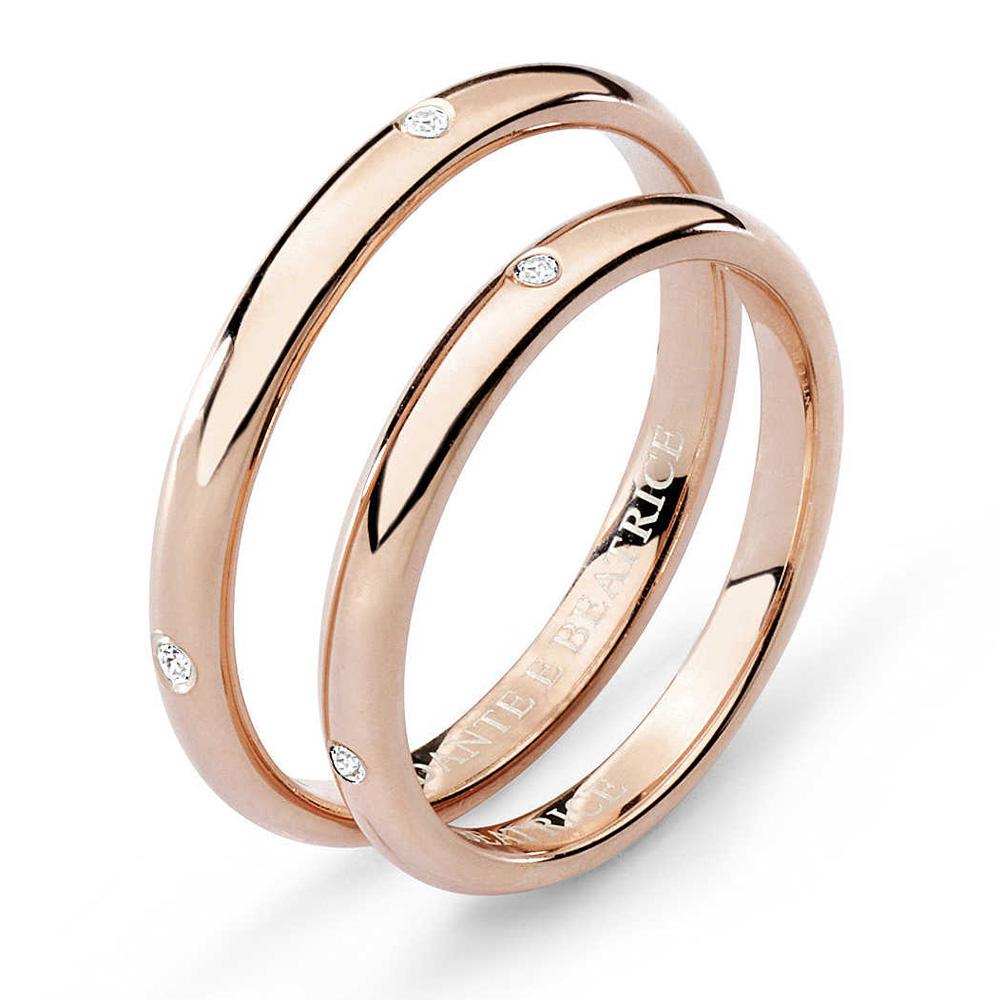 Fabuleux Fede Comete Gioielli Dante e Beatrice con 4 diamanti oro rosa  OE22
