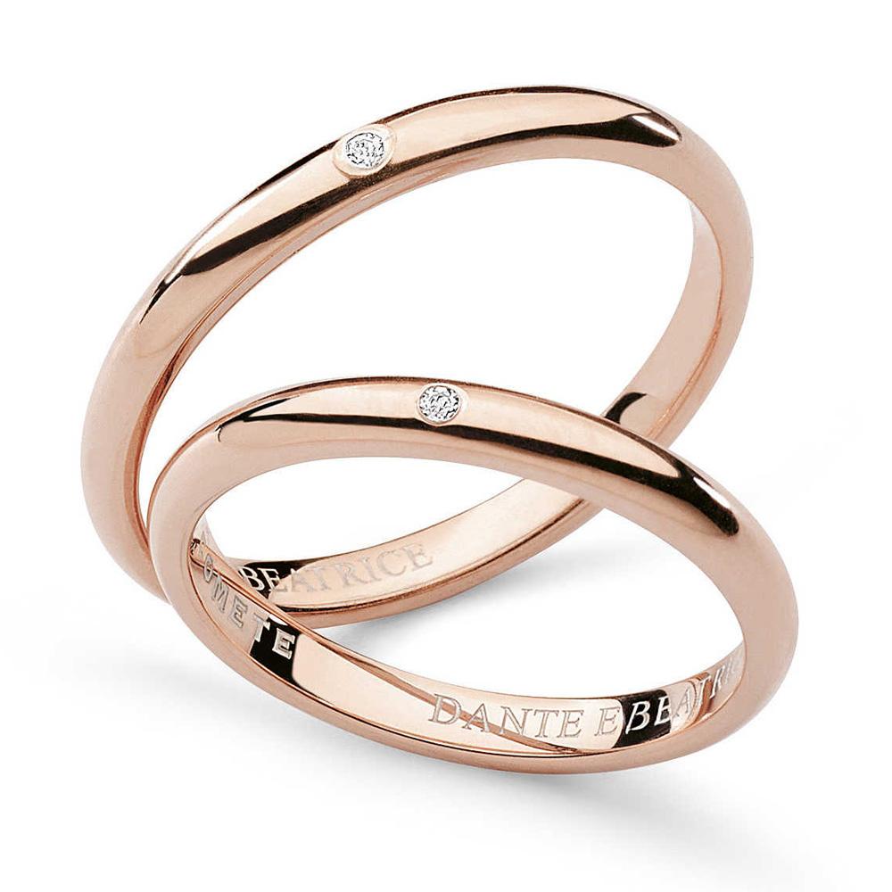 Fabuleux Fede Comete Gioielli Dante e Beatrice con un diamante oro rosa  TF23