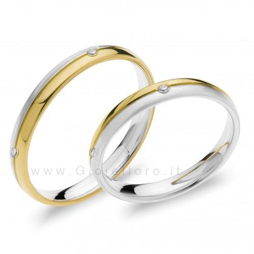 Fede Comete Gioielli Paolo e Francesca in oro bianco e giallo con 4 diamanti ANB1873BG