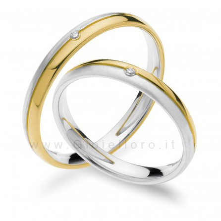 Fede Comete Gioielli Paolo e Francesca in oro bianco e giallo con diamante ANB1872BG