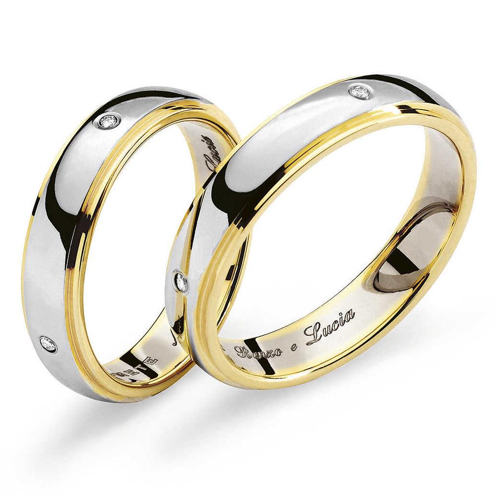 Fede Comete Gioielli Renzo e Lucia in oro bianco e giallo con 4 diamanti ANB1110BG