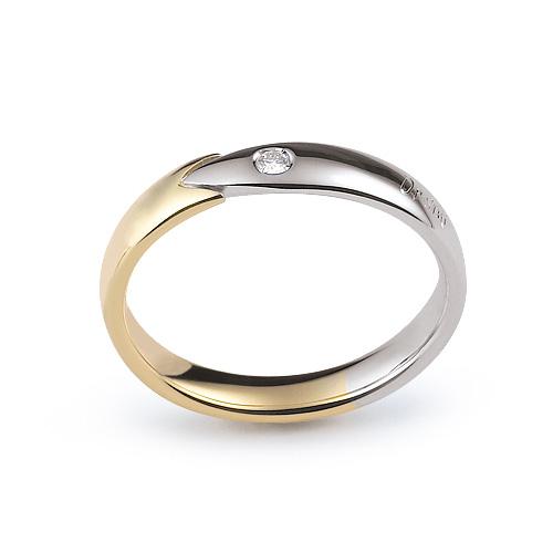 Fede Nuziale Orsini oro giallo e bianco con diamante FE305