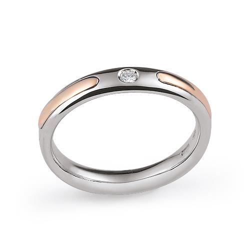 Fede Nuziale Orsini oro rosa e bianco con diamante FE310