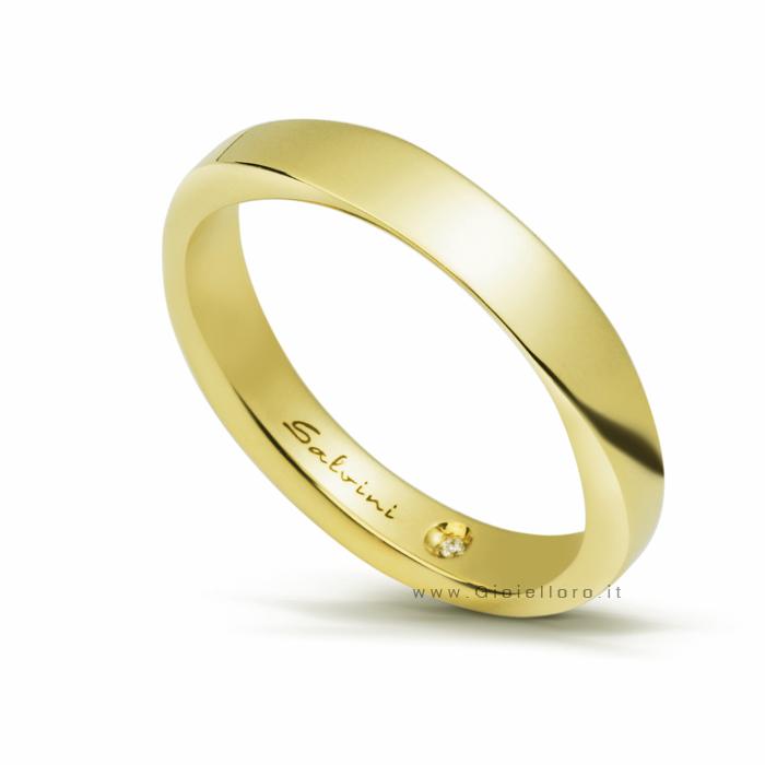 Anello Salvini INFINITY in oro giallo misura 21 con diamante interno