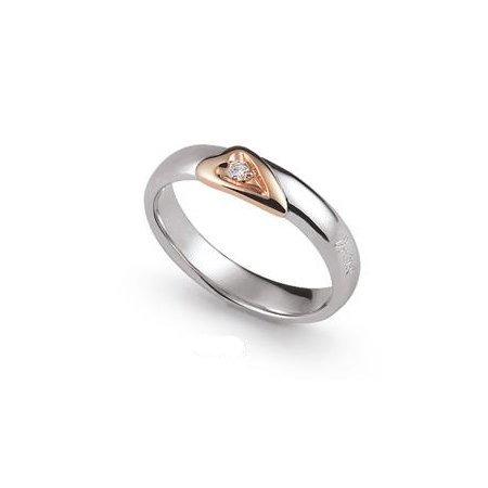 Fede Nuziale Orsini oro bianco e rosa con diamante FE341