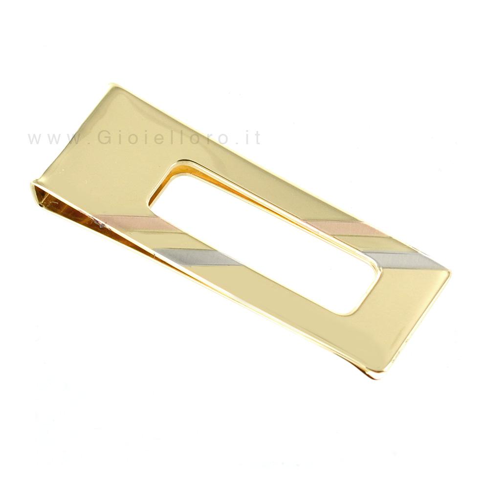 5b4388e078 Fermasoldi in oro giallo con inserti in oro tricolore   Gioielloro ...