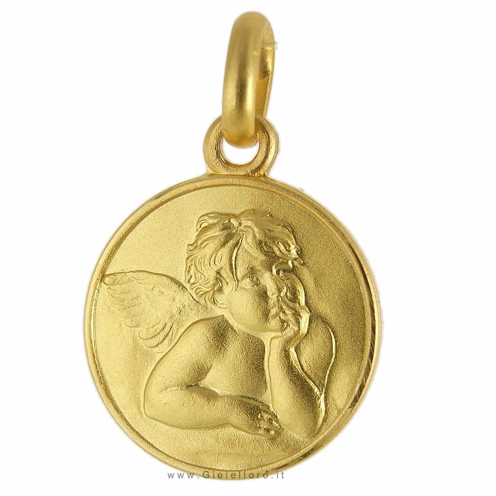 Medaglia Angelo Raffaello in oro giallo 12 mm