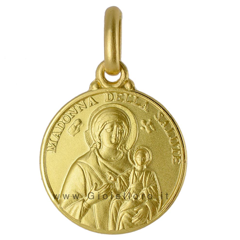 Medaglia Madonna della Salute in oro giallo 18 kt 12 mm