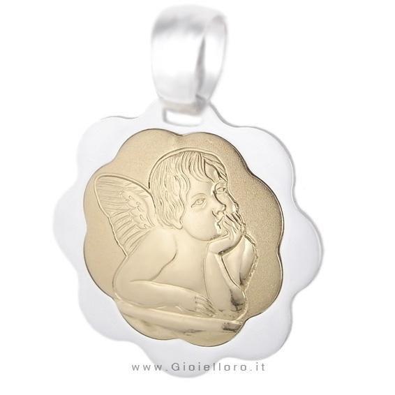 Medaglia religiosa in oro due colori con Angelo Cherubino 16X20 mm