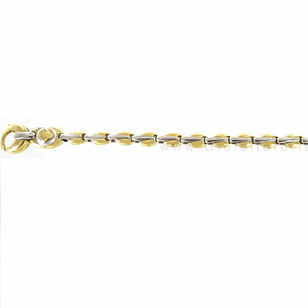 Catena maglia fantasia in oro giallo e bianco 60 cm