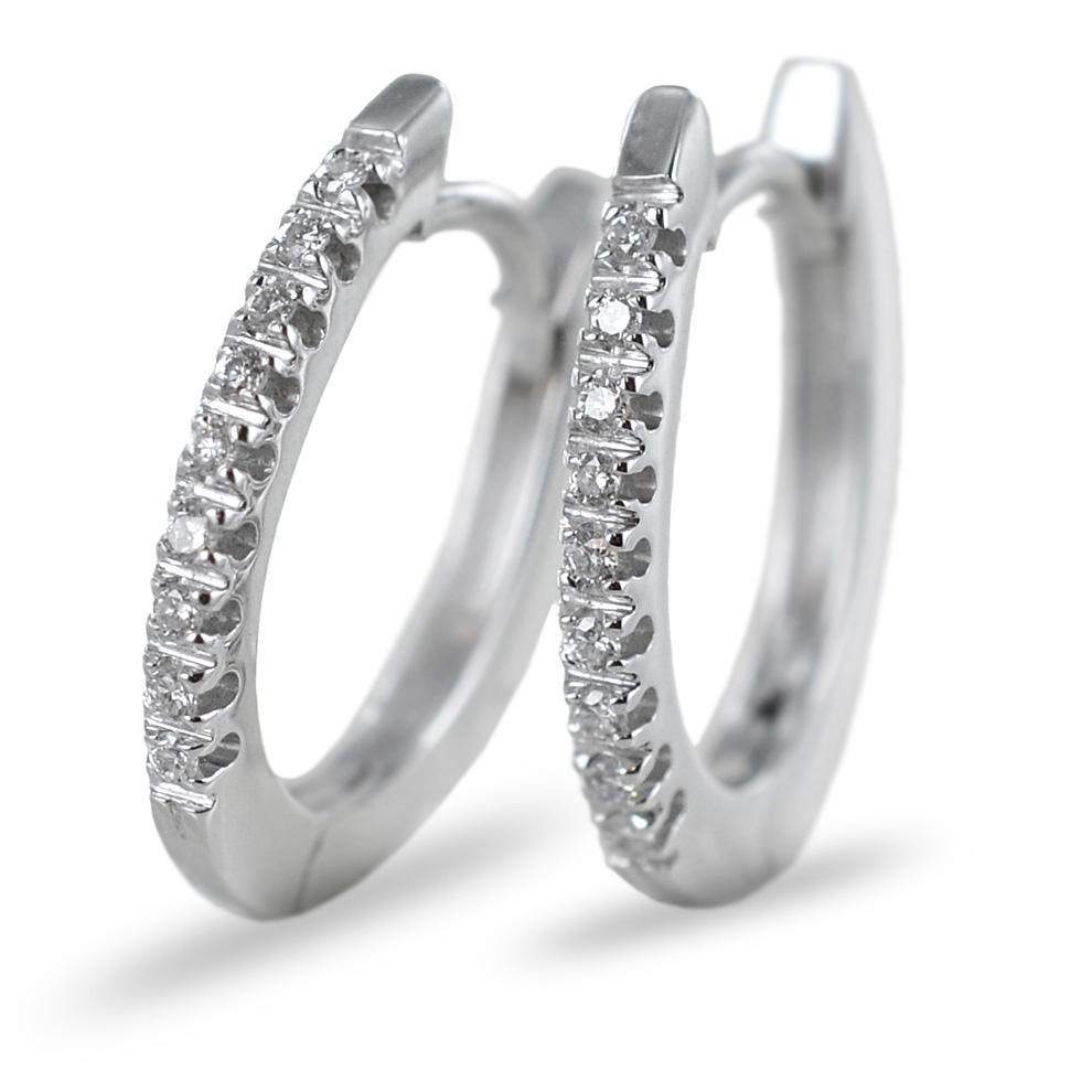 Orecchini a cerchio con diamanti ct 0.10 colore G