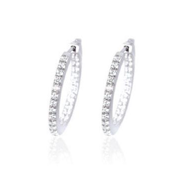 orecchini a cerchio in argento con zirconi