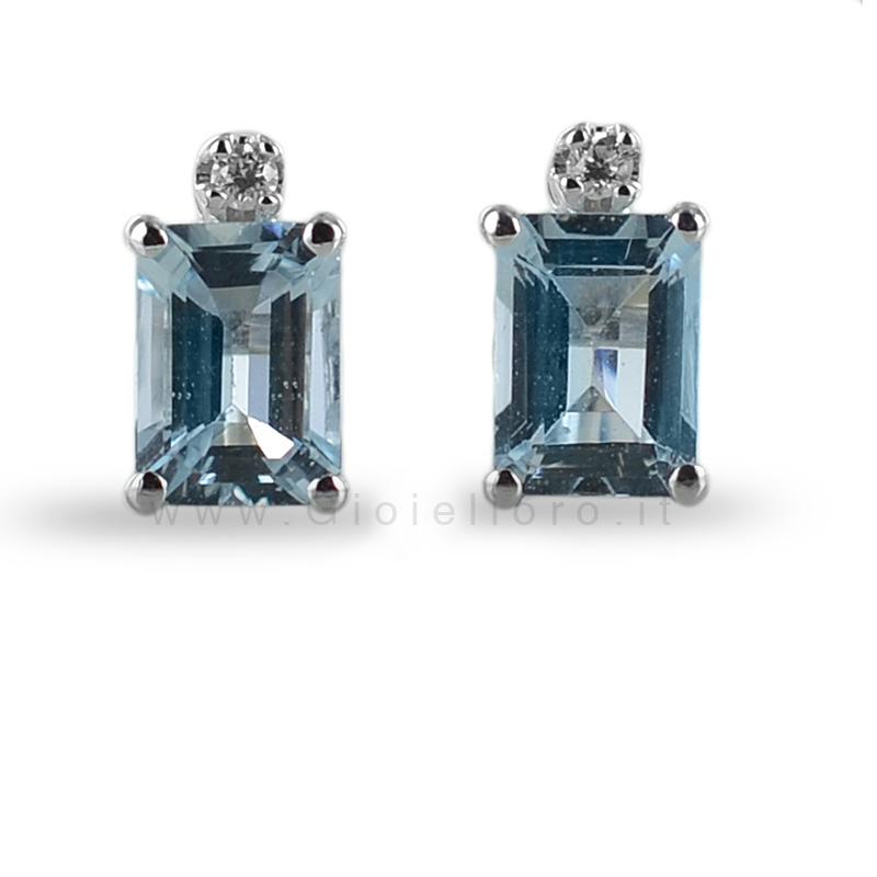 Orecchini con Acquamarina e Diamanti collezione Ingrid