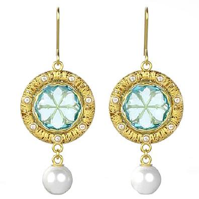 Orecchini in oro giallo con ciondolo perla e Quarzo Azzurro StilnovoLife