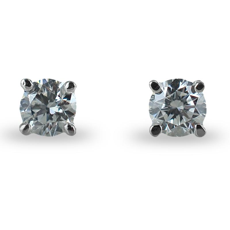 Orecchini punto luce piccoli in oro e diamanti ct 0.18 G VS