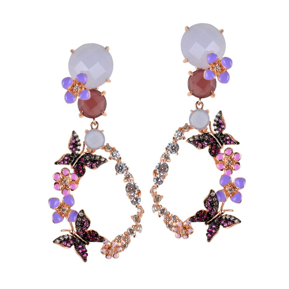 Orecchni farfalle in argento e pietre preziose GIOIELLI SAMUI