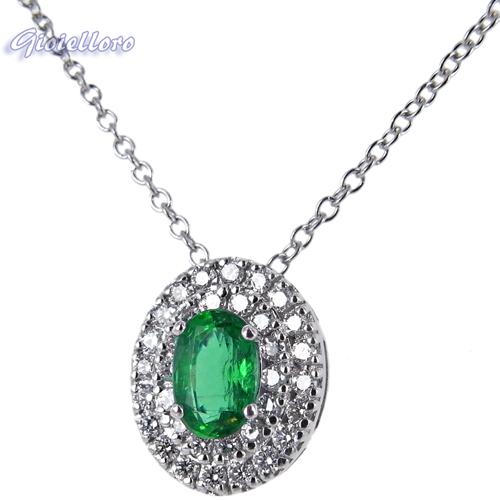 Collana e pendente in oro con Diamanti e Smeraldo Columbia