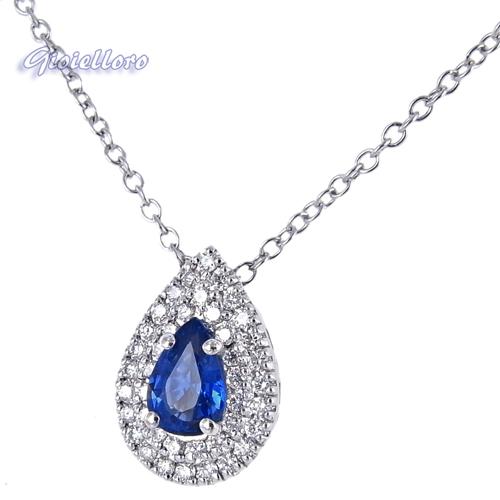 Collana e pendente in oro con Diamanti e Zaffiro Ceylon