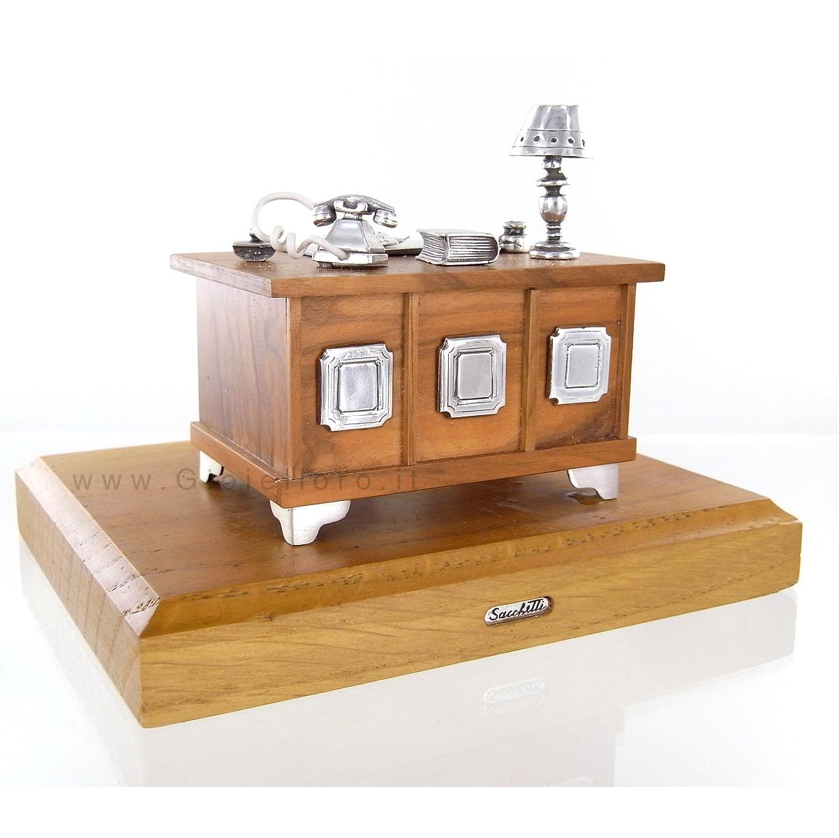 scrivania avvocato in argento 925 000 e legno argenteria