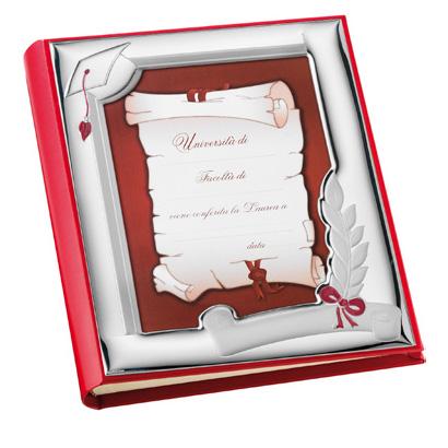 Album con Cornice in Argento LAUREA 20 x 25 cm in pelle e argento smalto rosso
