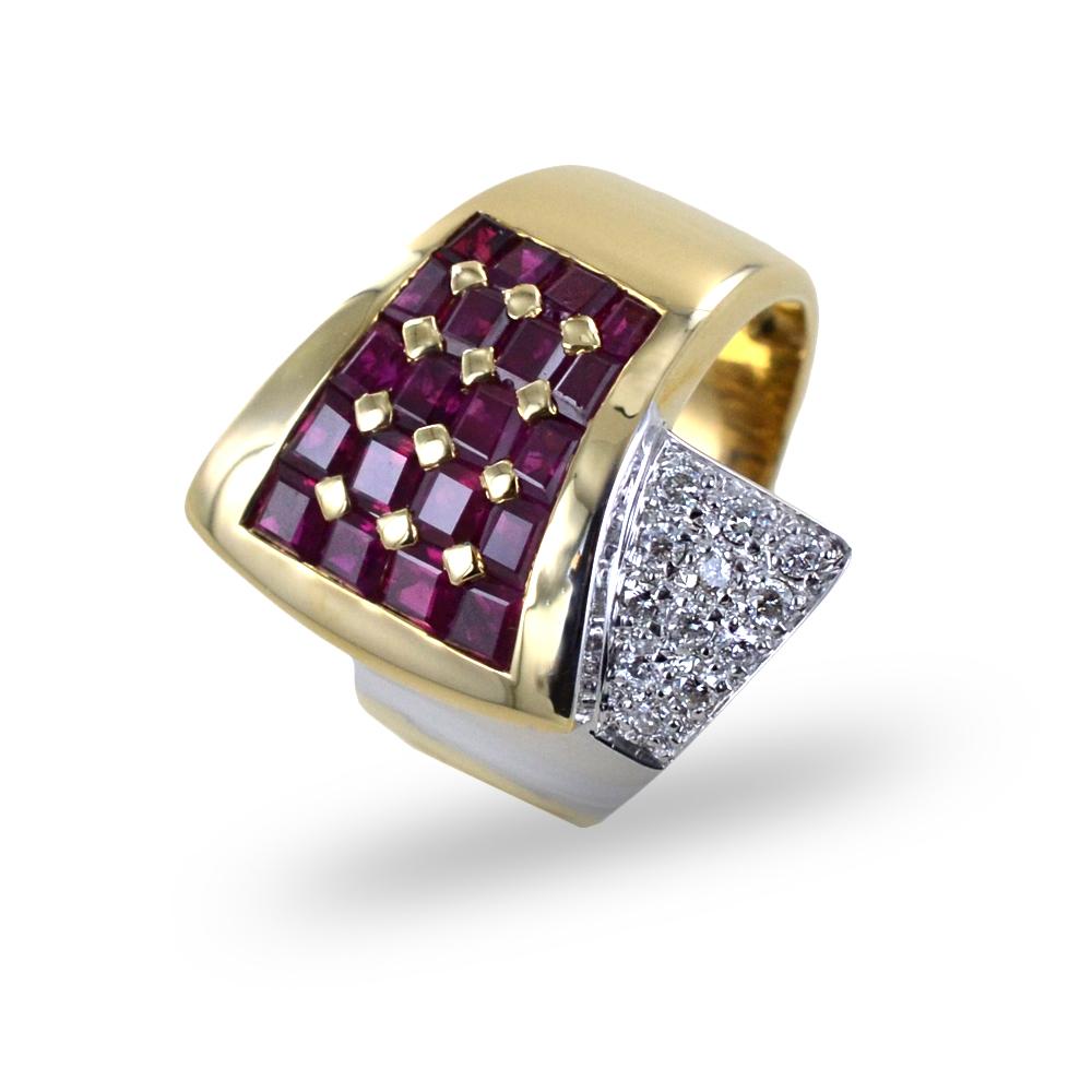 Anello a fascia classico antico rubini e diamanti