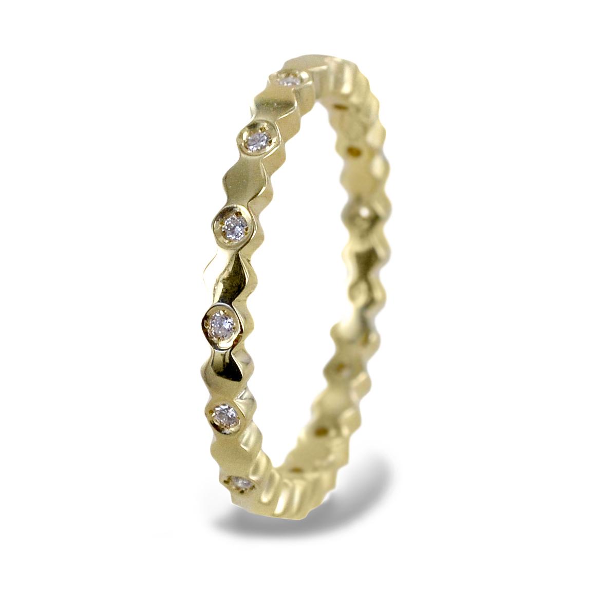 Anello fedina con diamanti e esagoni ct. 0,15