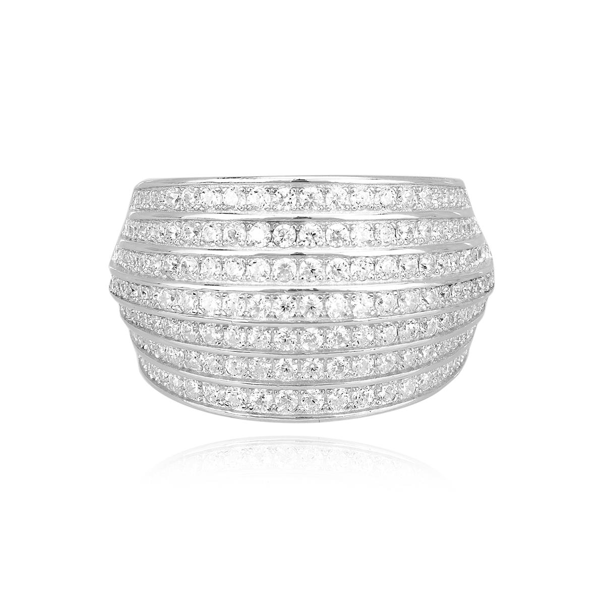 Anello a fascia Mabina in argento con zirconi misura 15