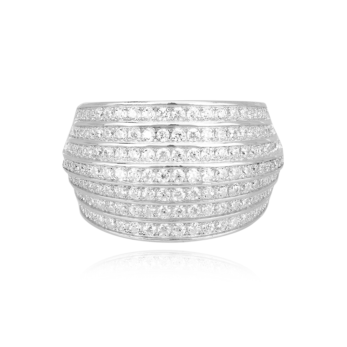 Anello a fascia Mabina in argento con zirconi misura 17