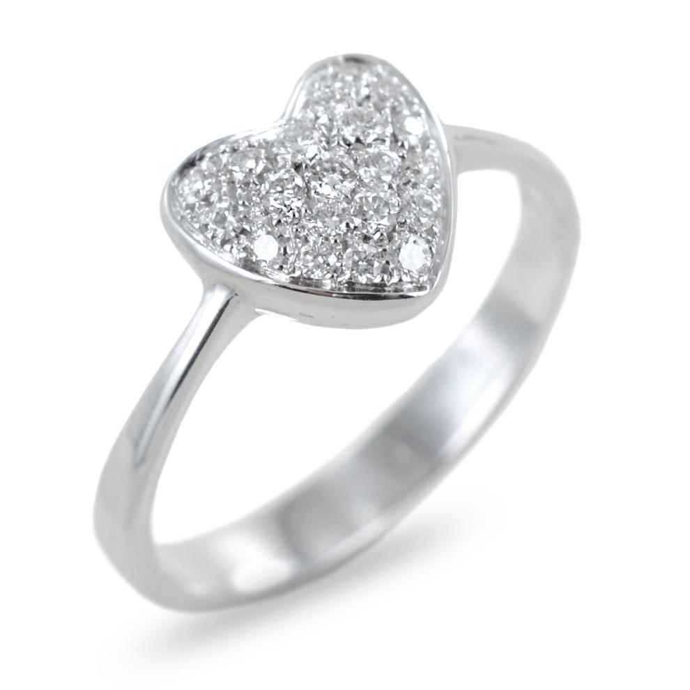 Anello a forma di cuore con pave di diamanti