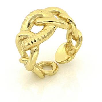 Anello a gambo aperto con anelli a scalare in bronzo dorato Unoaerre