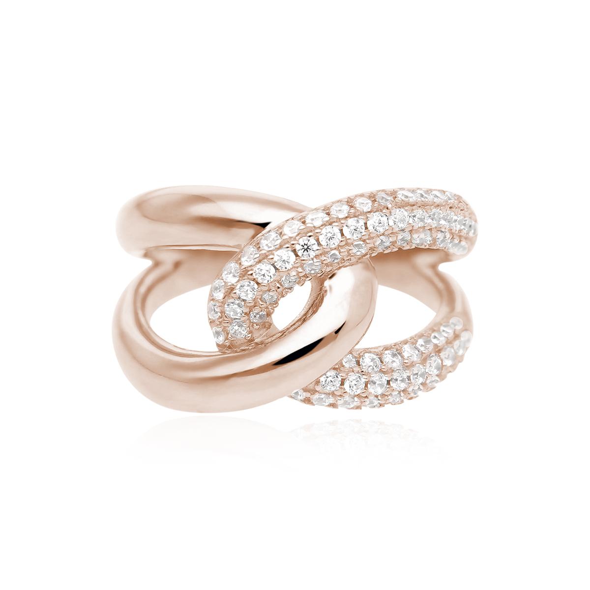 Anello abbraccio Mabina in argento rosato con zirconi misura 15