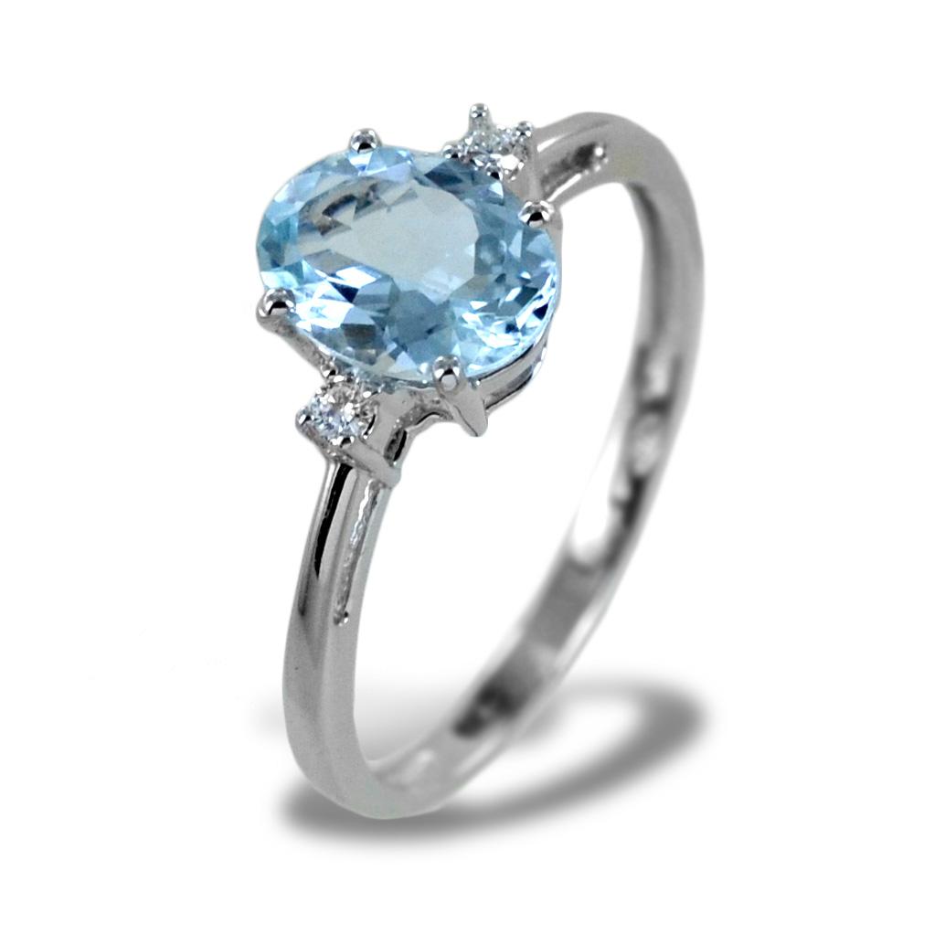 Anello Acquamarina e Diamanti modello Aisha grande