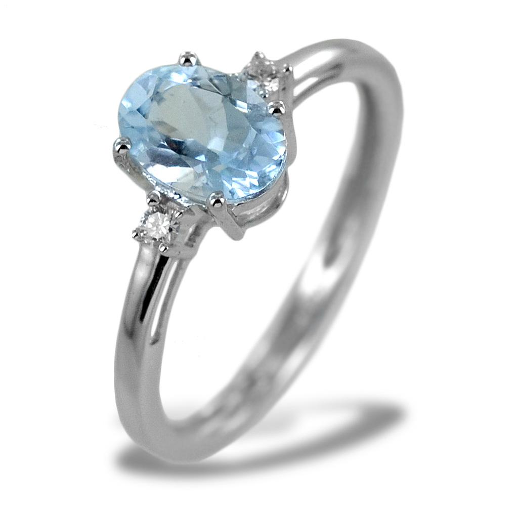 Anello Acquamarina e Diamanti modello Aisha medio