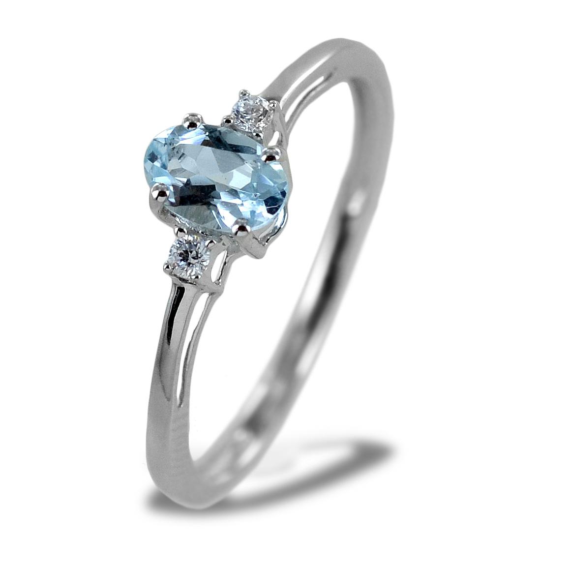 Anello Acquamarina e Diamanti modello Aisha piccolo