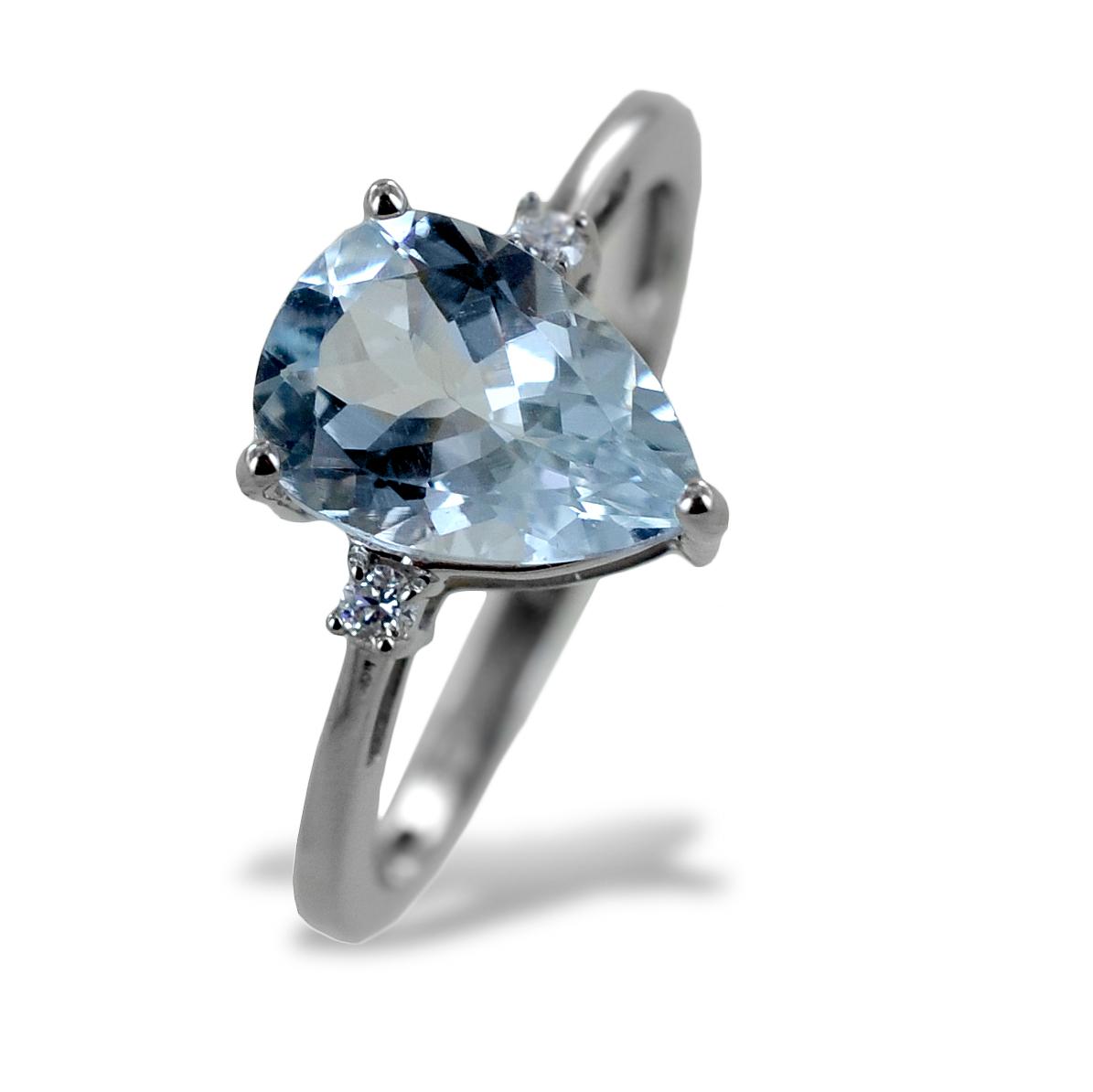Anello Acquamarina Goccia e Diamanti modello Kinari grande